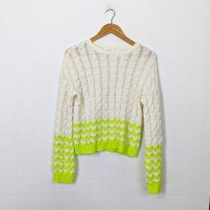 3/15 Abound Chevron Stripe Pointelle Sweater Green